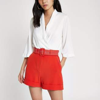 River Island Womens Red contrast stitch belted shorts
