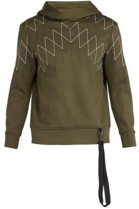 BLACKBARRETT by NEIL BARRETT Line Print Jersey Hooded Sweatshirt - Mens - Khaki