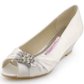 7aec1211e290 Elegantpark WP1403 Women Peep Toe Wedges Heel Rhinestones Satin Bridal  Wedding Shoes US 7