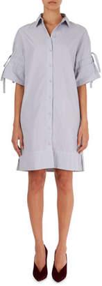 Victoria Beckham Victoria Pinstripe Poplin Shirtdress with Tie Sleeves