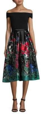 Carmen Marc Valvo Floral-Print Off-The-Shoulder Dress