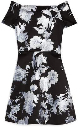 Aqua Girls' Foil Floral Dress, Big Kid - 100% Exclusive
