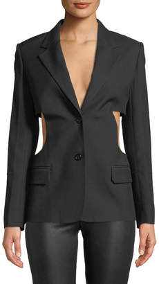 Helmut Lang Single-Breasted Cutout-Sides Canvas Blazer