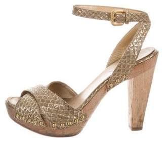 Prada Metallic Snakeskin Sandals