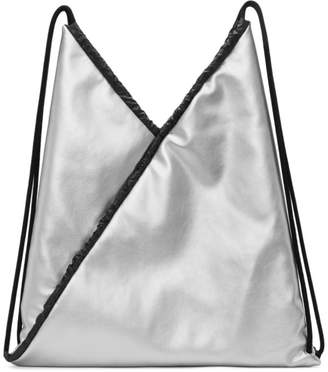 Maison Margiela Silver Faux-Leather Backpack