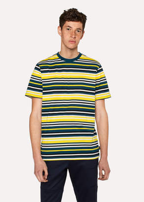 Paul Smith Men's Yellow And Slate Blue Stripe T-Shirt