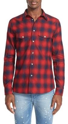 Men's Givenchy Extra Trim Fit Plaid Flannel Western Shirt $690 thestylecure.com