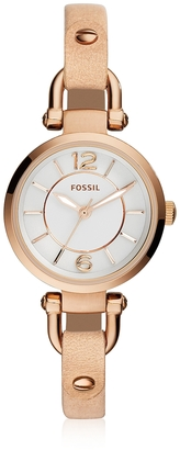 Fossil Georgia Mini Rose Gold Tone Stainless Steel Case and Nude Leather Strap Women's Watch $149 thestylecure.com