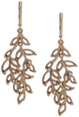 lonna & lilly Gold-Tone Pave Leaf Chandelier Earrings