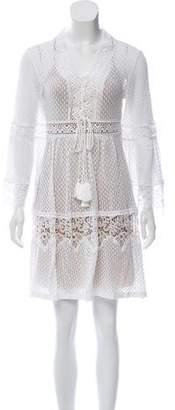 Alberta Ferretti Embroidered Lace-Up Dress