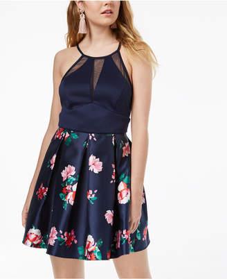 Teeze Me Juniors' Floral-Print & Illusion Dress
