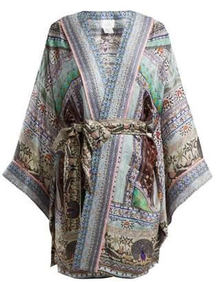 Camilla The King And I Tie Waist Kimono - Womens - Black Green