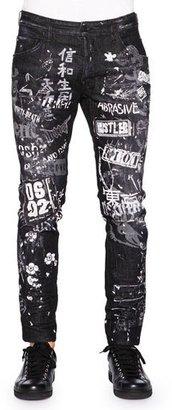 Dsquared2 Graffiti-Print Skater Jeans, Black $830 thestylecure.com