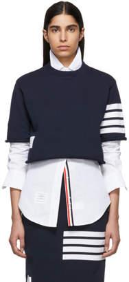Thom Browne Navy 4-Bar Boxy Cut-Off T-Shirt