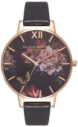 Olivia Burton Dark Bouquet Leather Strap Watch, 38mm