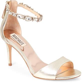 Badgley Mischka Platinum Sindy Embellished Ankle Strap Sandals