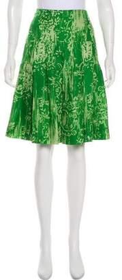 Oscar de la Renta Silk Printed Skirt