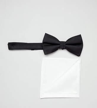Asos DESIGN tie and pocket square pack in black