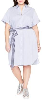 Rachel Roy Obi Belt Stripe Shirtdress