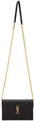 Saint Laurent Black and Gold Monogramme Envelope Chain Bag