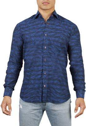 Maceoo Shaped-Fit Mixed Jacquard Sport Shirt