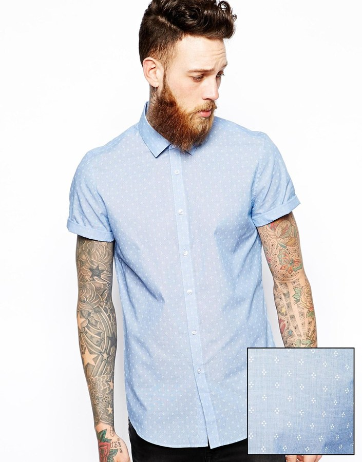 Asos Smart Shirt In Short Sleeve With Diamond Spot Print