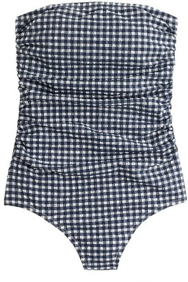 Women's J.crew Gingham Strapless One-Piece Swimsuit $110 thestylecure.com