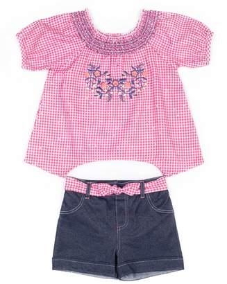 Little Lass Baby Girl Checker Shirt & Denim Short Set