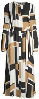 Lafayette 148 New York Emberly Graphic Colorblock Maxi Shirtdress