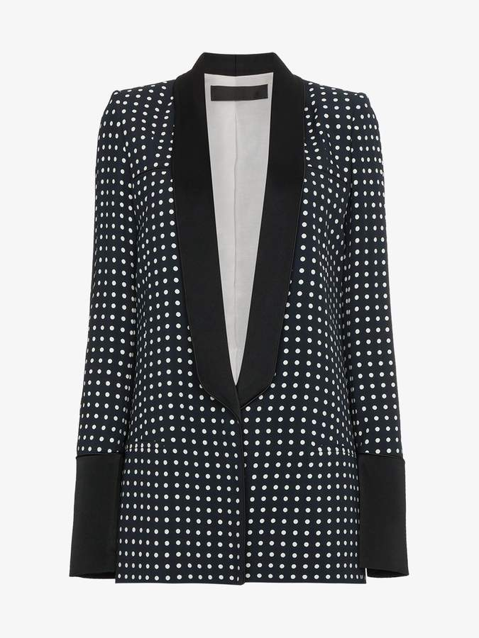 polka dot print single breasted blazer