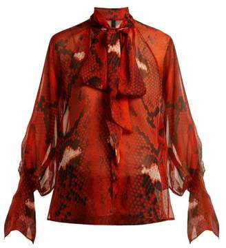 Petar Petrov Bea Snake Print Pussy Bow Silk Blouse - Womens - Red Multi