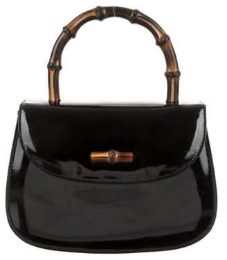 435accac4 Gucci Vintage Patent Mini Bamboo Bag