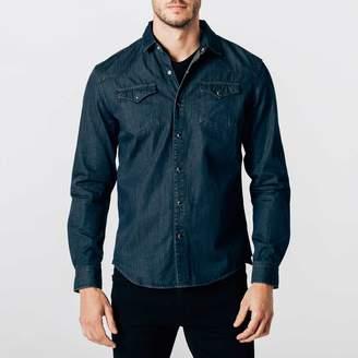 DSTLD Mens Snap Button Down Denim Shirt in Midnight Blue