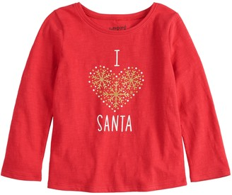 Carter's Toddler Girl Jumping Beans Long Sleeve Holiday Graphic Tee
