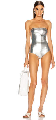 Adriana Degreas Nautilus Strapless Swimsuit in Silver   FWRD