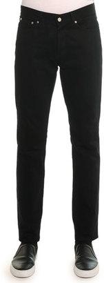 Givenchy Slim Denim Pants with Leather Back-Pocket, Black $675 thestylecure.com