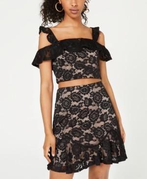 City Studios Juniors' 2-Pc. Cold-Shoulder Lace Dress