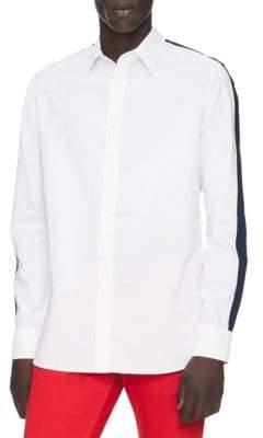 Calvin Klein Long-Sleeve Contrast Button-Down Shirt