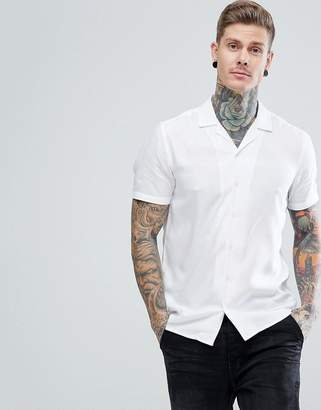 Asos Design Regular Fit Viscose Shirt With Revere Collar In White