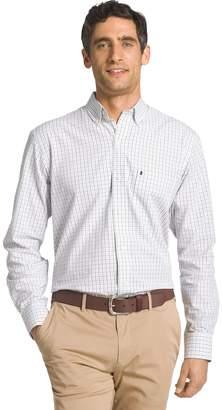Izod Big & Tall Essential Regular-Fit Tattersall Plaid Button-Down Shirt