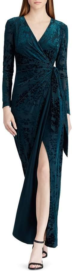 Lauren Ralph Lauren Velvet Burnout Wrap Style Gown
