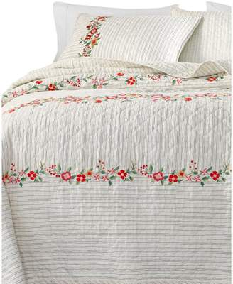 Martha Stewart 140-Thread Count Embroidered Flowers Cotton Quilt