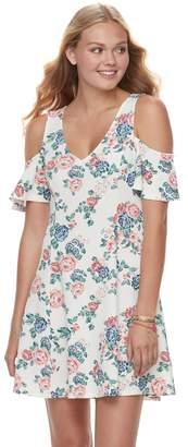 Almost Famous Juniors' Floral Cold-Shoulder Dress