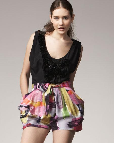 Ali Ro Silk Brushstroke Shorts