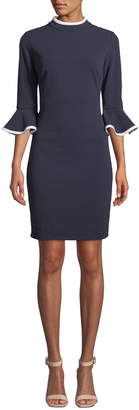 Alexia Admor Piped Flare-Sleeve Mock-Neck Sheath Dress