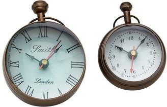 Twos Company Round Table Clocks (Set of two)