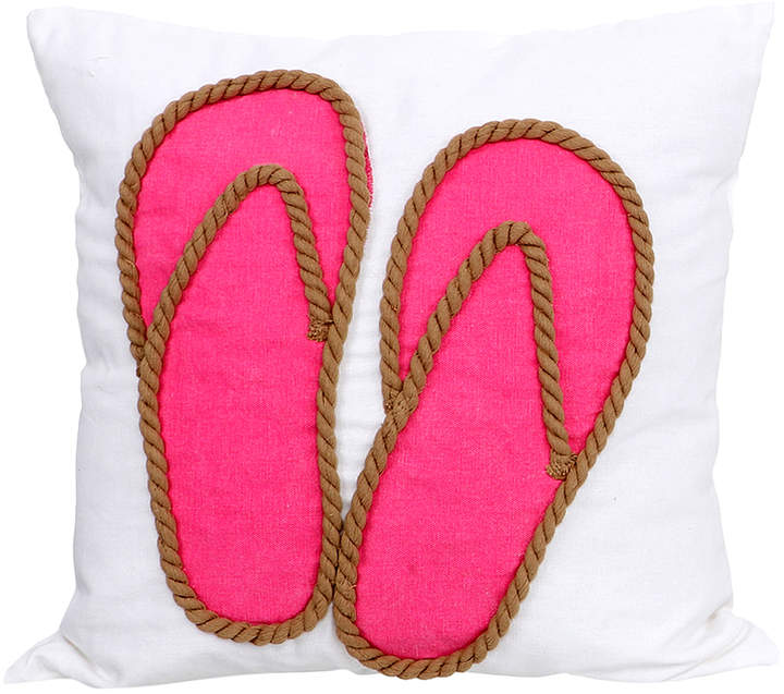Pink Flip-Flop Applique Pillow