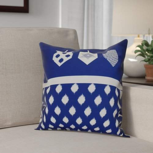 The Holiday Aisle Hanukkah 2016 Decorative Holiday Geometric Outdoor Throw Pillow