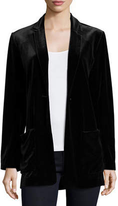 Joan Vass Velvet Button-Front Jacket, Plus Size