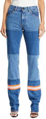 Calvin Klein Mix Patchwork Straight-Leg Denim Pants